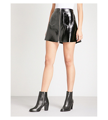 KENDALL & KYLIE A-line patent mini skirt (Black+blk
