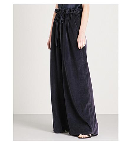 KENDALL & KYLIE Paperbag-waist velvet trousers (Nine+iron+nin