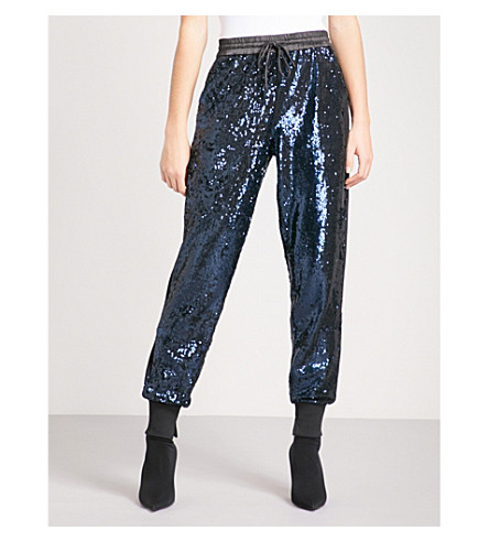 KENDALL & KYLIE Sequinned jogging bottoms (Navy+nvy