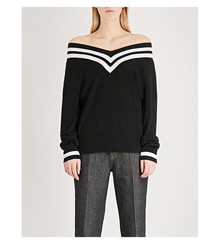 KENDALL & KYLIE Off-the-shoulder wool and cashmere-blend jumper (Black+multi+bmw