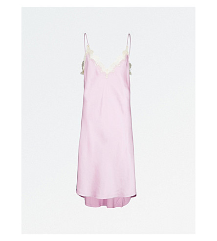 KENDALL & KYLIE Lace-trim silk-satin slip dress (Orchid+orc