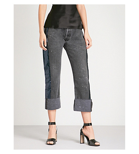 KENDALL & KYLIE Sequin-detail repurposed wide mid-rise jeans (Black/navy+bny