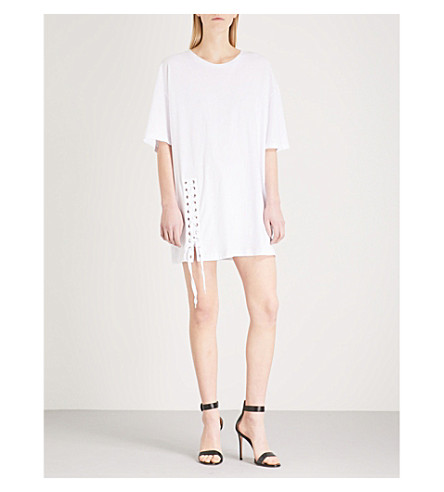 KENDALL & KYLIE Laced cotton-jersey mini dress (Bright+white+bwt