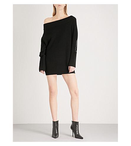 KENDALL & KYLIE Off-the-shoulder wool-blend jumper dress (Black+blk