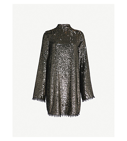 KENDALL & KYLIE Flared sequinned mini dress (Silver+multi+slm