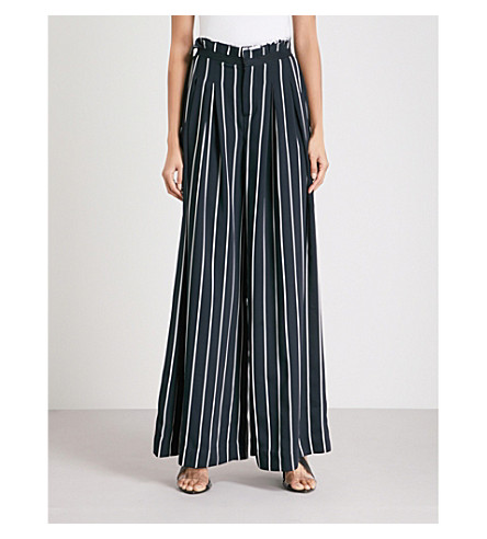 KENDALL & KYLIE Striped wide-leg woven trousers (Navy/white