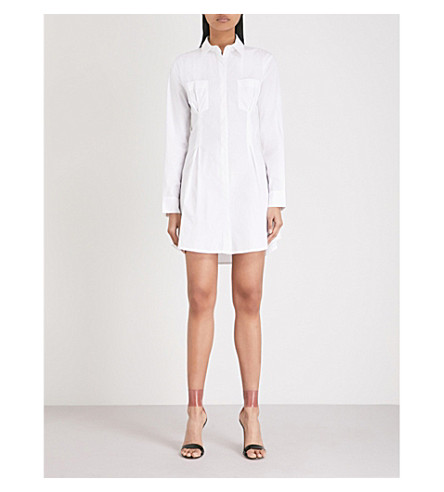 KENDALL & KYLIE Lace-back cotton-blend shirtdress (Bright+white