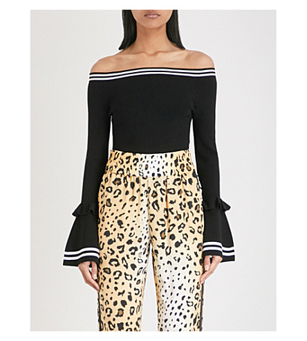 KENDALL & KYLIE Striped-trim off-the-shoulder knitted body (Black