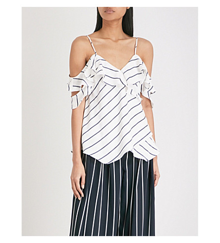 KENDALL & KYLIE Off-the-shoulder pinstripe woven top (White/navy