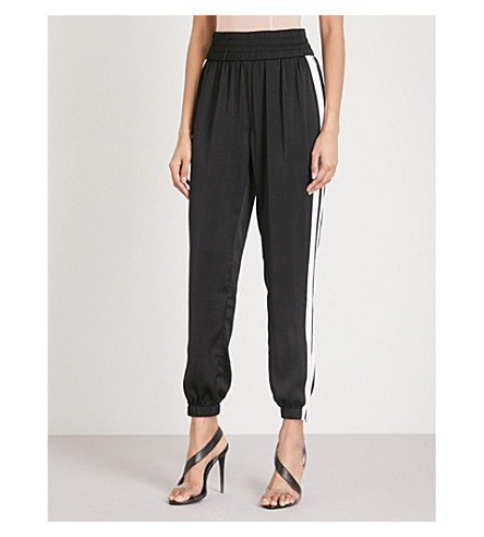 KENDALL & KYLIE Side-striped satin jogging bottoms (Black/bright+white