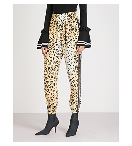 KENDALL & KYLIE Leopard-print relaxed-fit satin jogging bottoms (Leopard