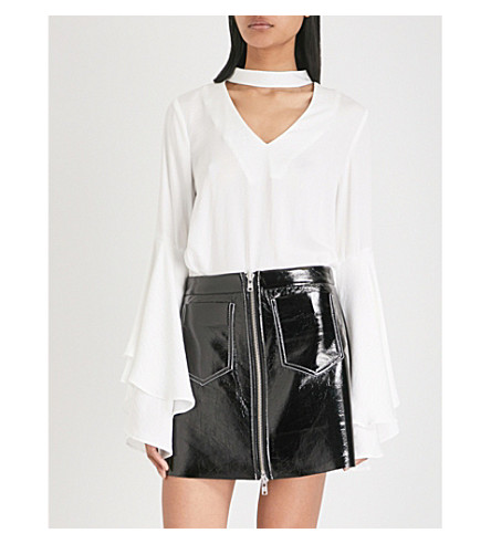 KENDALL & KYLIE Bell-sleeve satin top (Ivory