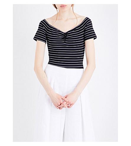 KENDALL & KYLIE Bardot striped jersey body (Black+white+stripe