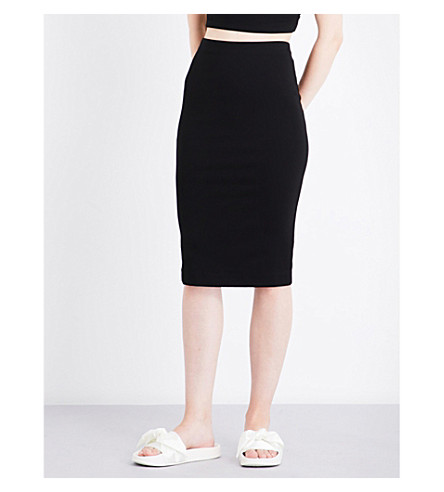 KENDALL & KYLIE High-waisted stretch-jersey pencil skirt (Black