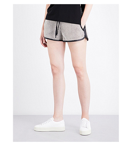 KENDALL & KYLIE Leather-trim cotton-twill shorts (Black