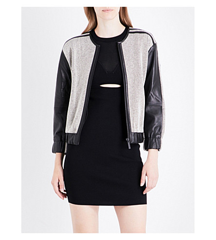 KENDALL & KYLIE Leather and cotton-twill bomber jacket (Black