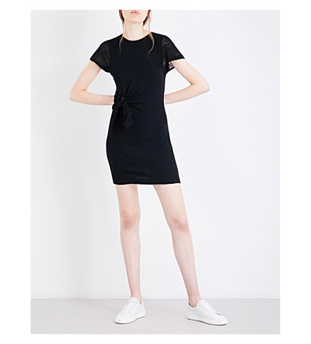 KENDALL & KYLIE Knot-tied cotton-jersey dress (Black