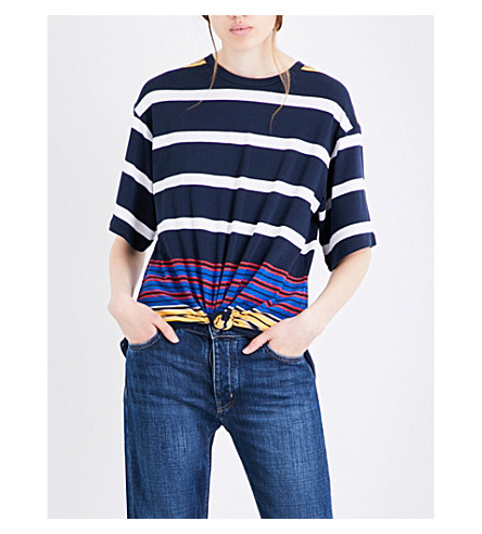 KENDALL & KYLIE Striped jersey top (Multi