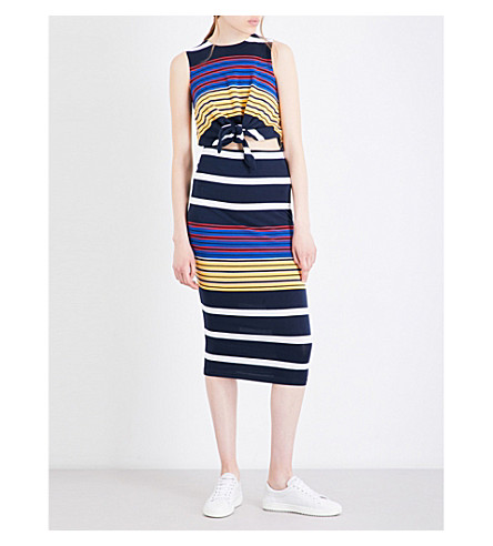KENDALL & KYLIE Striped waist-tied jersey dress (Multi
