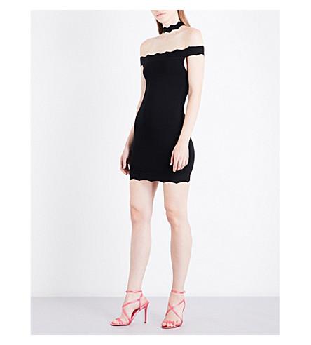 KENDALL & KYLIE Scallop Choker stretch-knit mini dress (Black