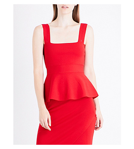 KENDALL & KYLIE Peplum stretch-knit top (Bright+red