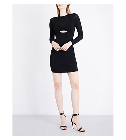 KENDALL & KYLIE Sheer Yoke stretch-knit mini dress (Black