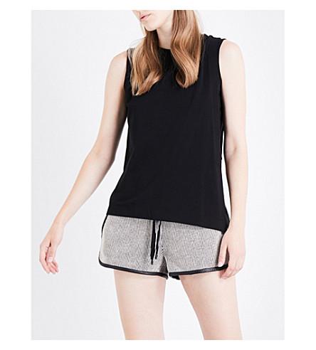 KENDALL & KYLIE Asymmetric stretch-cotton top (Black