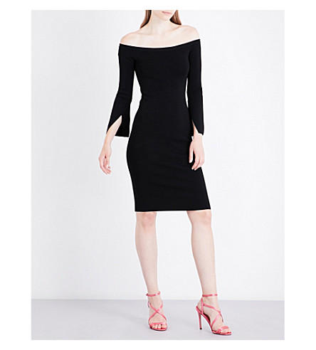 KENDALL & KYLIE Off-the-shoulder stretch-knit mini dress (Black