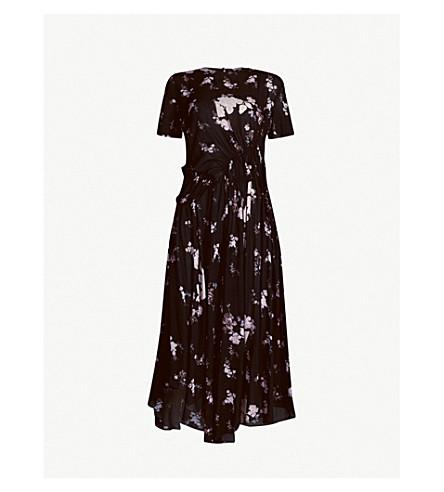 PREEN LINE Lois asymmetric floral-print crepe midi dress (Black