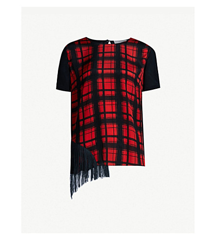 PREEN LINE Suzy checked crepe de chine top (Rdplaidblk