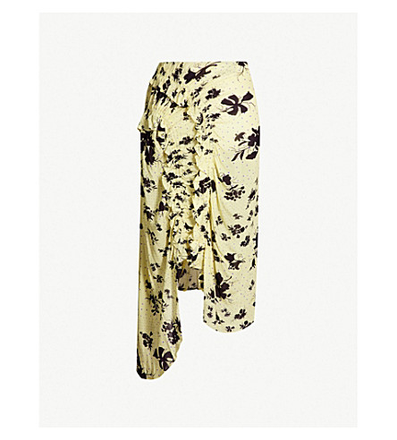 PREEN LINE Yuna floral-print ruffled woven skirt (Plkflrlyel