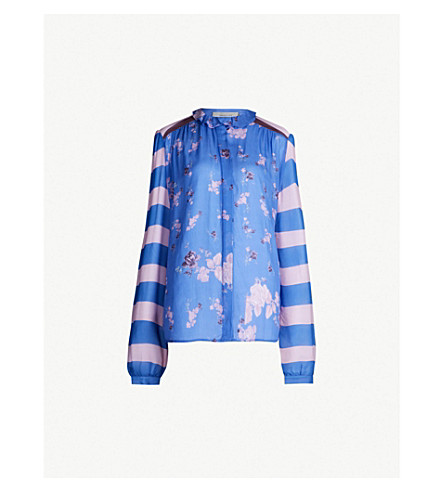 PREEN LINE Suckie striped and floral-print crepe and chiffon blouse (Strp combo