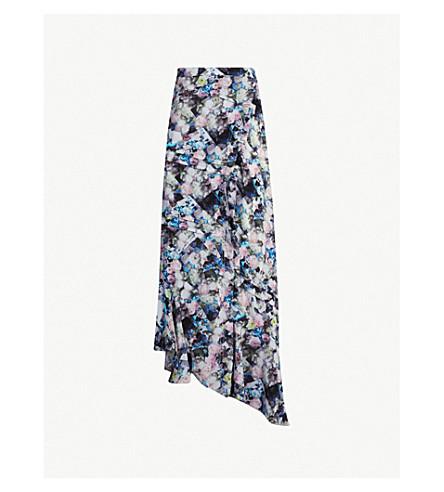 PREEN LINE Daria floral-print chiffon midi wrap skirt (Flwr blue