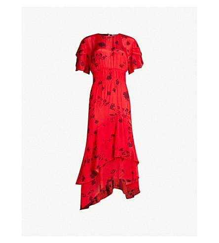 PREEN LINE Esther floral-print crepe de chine dress (Plkflrlred