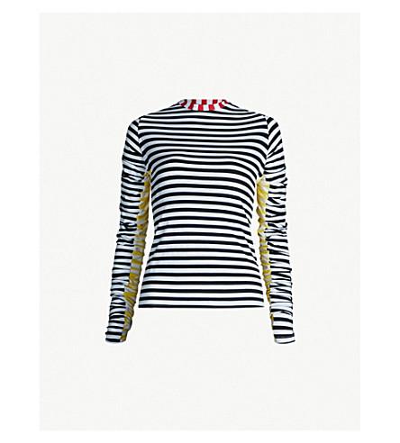PREEN LINE Striped stretch-jersey top (Blk stripe
