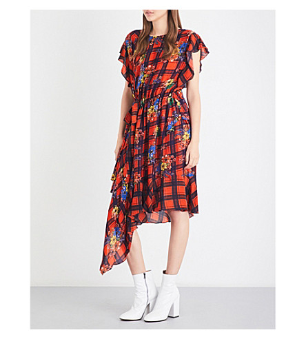 PREEN LINE Ora floral-print asymmetric crepe dress (Red+plaid
