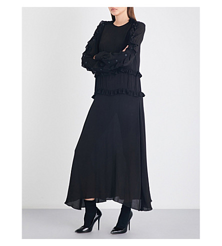 PREEN LINE Amata ruffled crepe maxi dress (Black