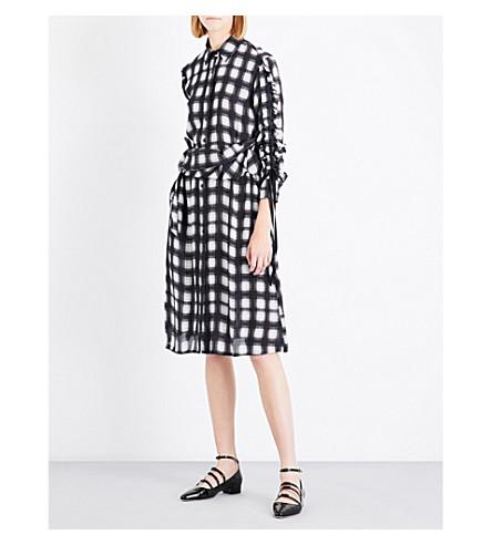 PREEN LINE Uri checked crepe dress (Black+white+plaid