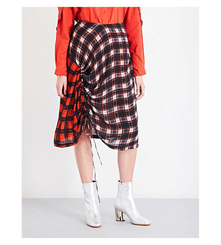 PREEN LINE Vivian check-print crepe skirt (Blue+plaid+red+plaid
