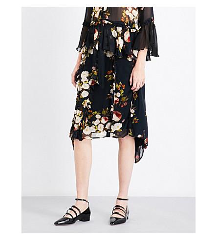 PREEN LINE Elaine ruffled floral chiffon skirt (Wild+peony