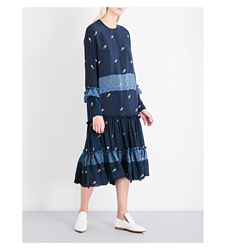 PREEN LINE Yasmina floral and polka dot-print crepe midi dress (Rosy+polka+dot+blue