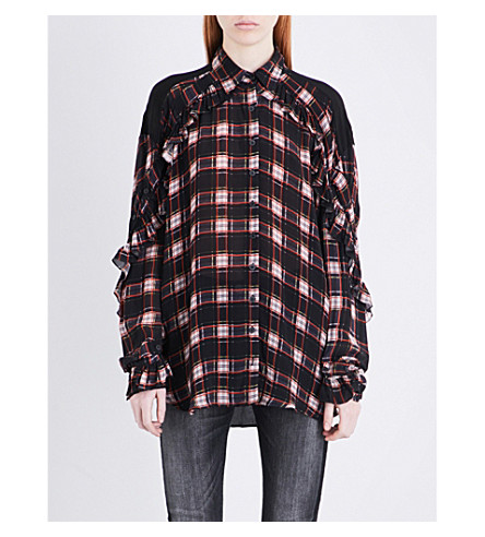 PREEN LINE Lucie checked crepe shirt (Blue+plaid