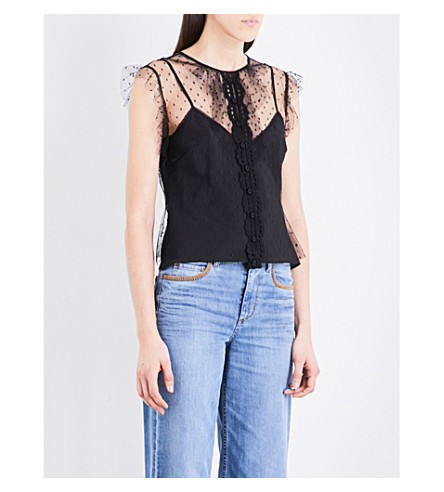RED VALENTINO Ruffled polka dot tulle top (Nero