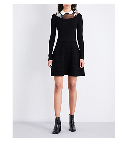 RED VALENTINO Abito fit-and-flare knitted dress (Nero