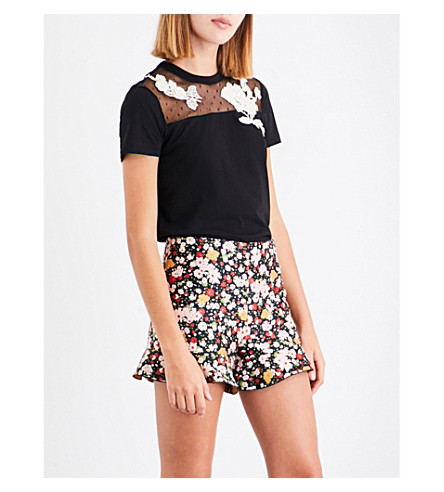 RED VALENTINO Floral-embroidered lace and cotton-jersey T-shirt (Nero