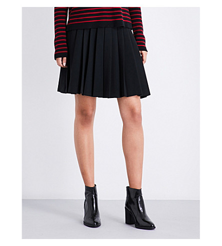 RED VALENTINO Pleated high-rise shorts (Nero