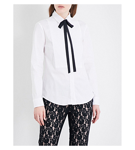 RED VALENTINO Neck-tie cotton-blend shirt (Bianco