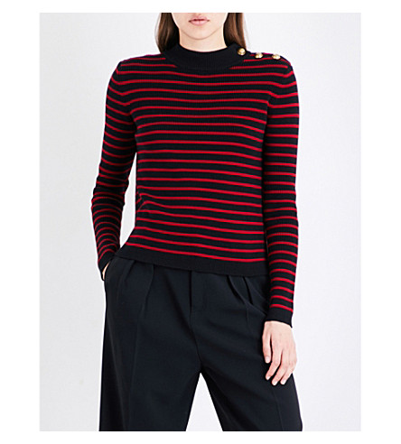 RED VALENTINO Maglia striped cotton-knitted jumper (Nero+lacca