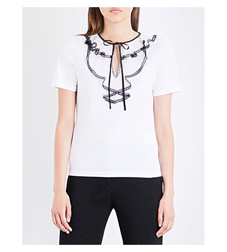 RED VALENTINO Lace-embellished cotton-jersey T-shirt (Bianco