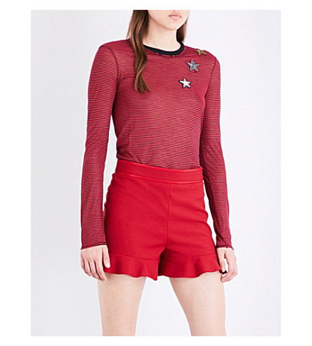 RED VALENTINO Star-embellished jersey jumper (Lacca nero